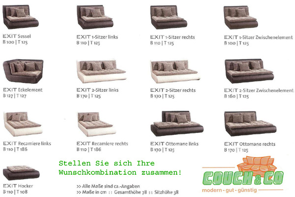 textil leder couch sofa couchgarnitur sofagarnitur exit ebay. Black Bedroom Furniture Sets. Home Design Ideas