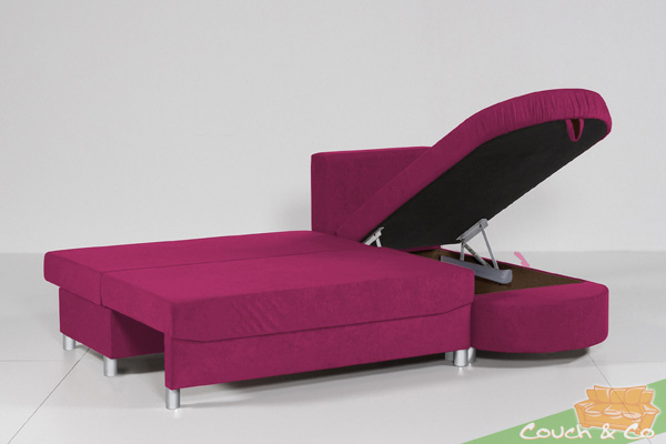 pia schlafsofa mit funktion in pink schlafcouch neu ebay. Black Bedroom Furniture Sets. Home Design Ideas