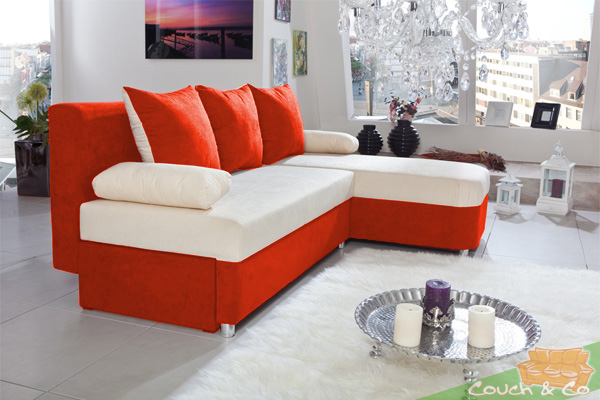 schlafsofa couch schlafcouch bettsofa allora farbe orange creme neu. Black Bedroom Furniture Sets. Home Design Ideas