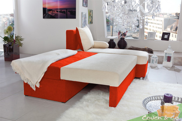 schlafsofa couch schlafcouch bettsofa allora farbe orange creme neu ebay. Black Bedroom Furniture Sets. Home Design Ideas